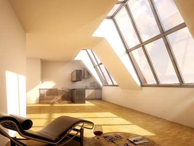 Obere Etage einer Dachgeschosswohnung