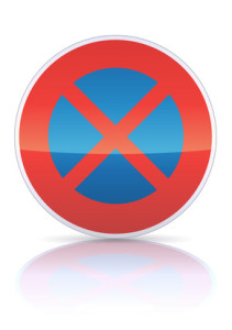Arrêt et stationnement interdit (reflet métal)